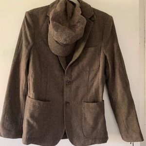 Wool herringbone men's blazer
